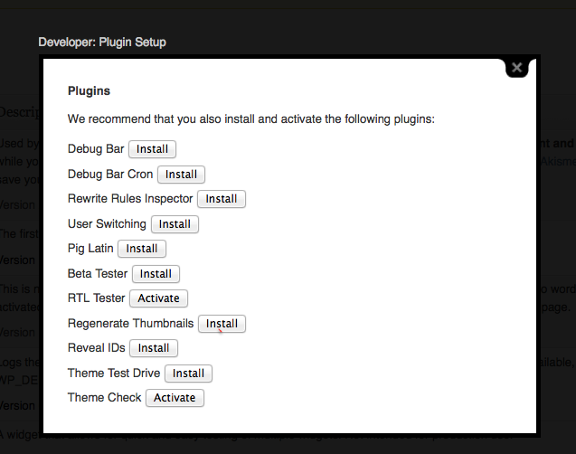Recommended Plugins for Theme Developers
