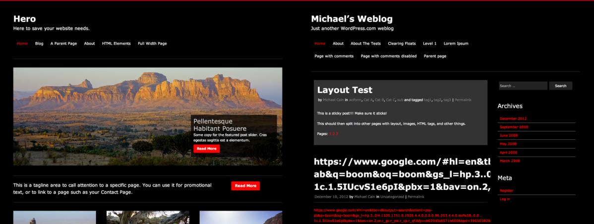Hero demo site on WordPress.com vs. User theme activation