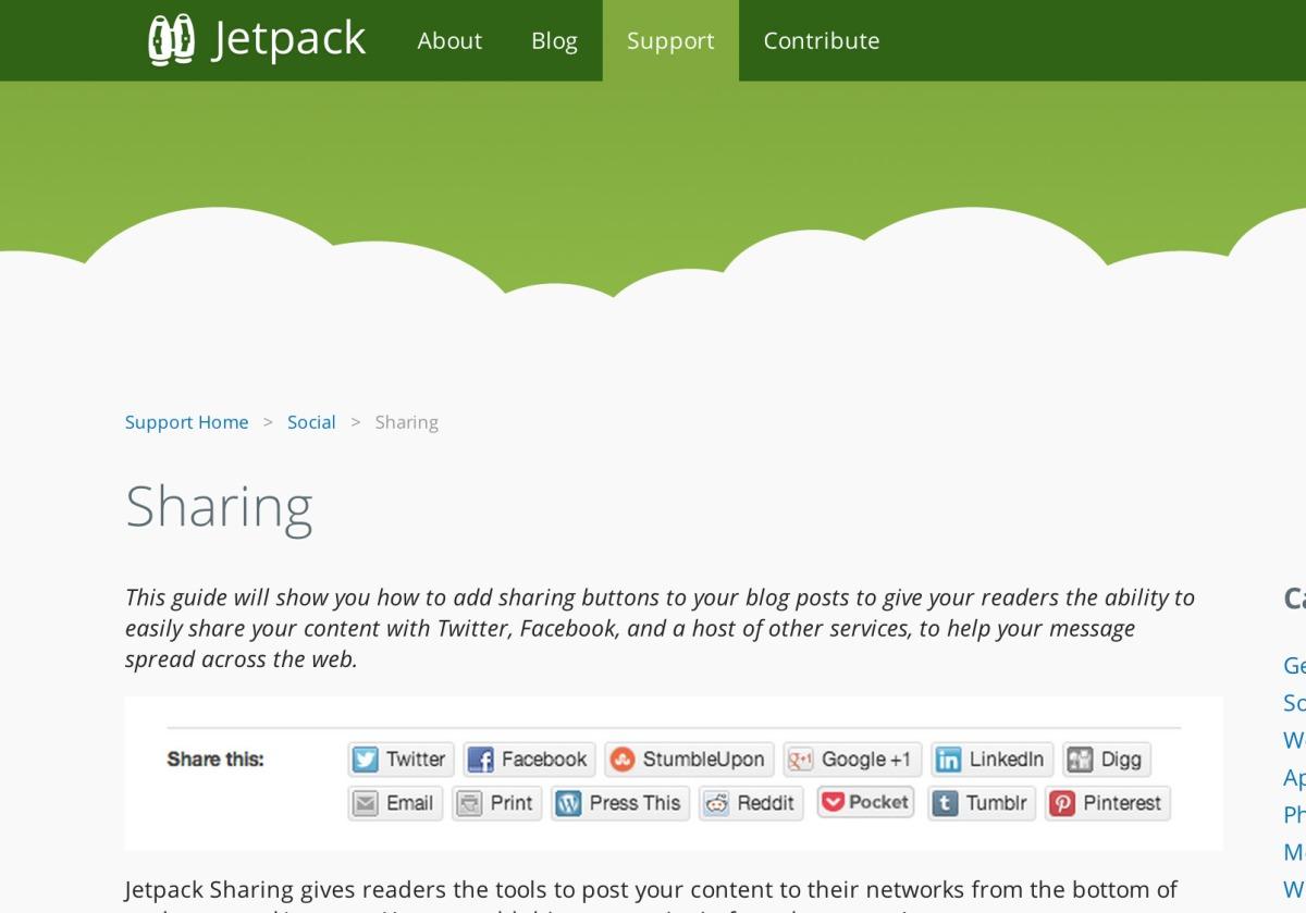 Customizing Jetpack's Sharingmodule