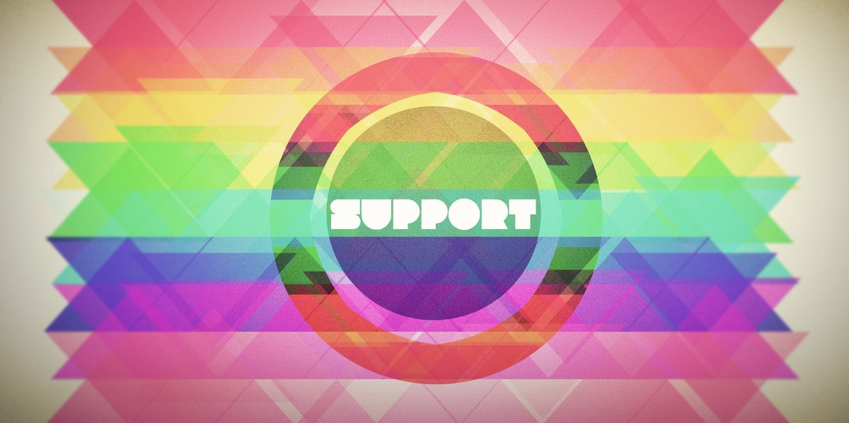 """support"" on a colored background"