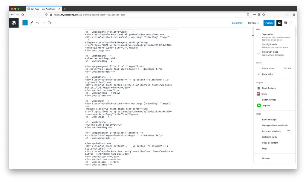 The WordPress editor, open to the Code editor view. The settings menu is open to show where you can toggle on the Code editor.