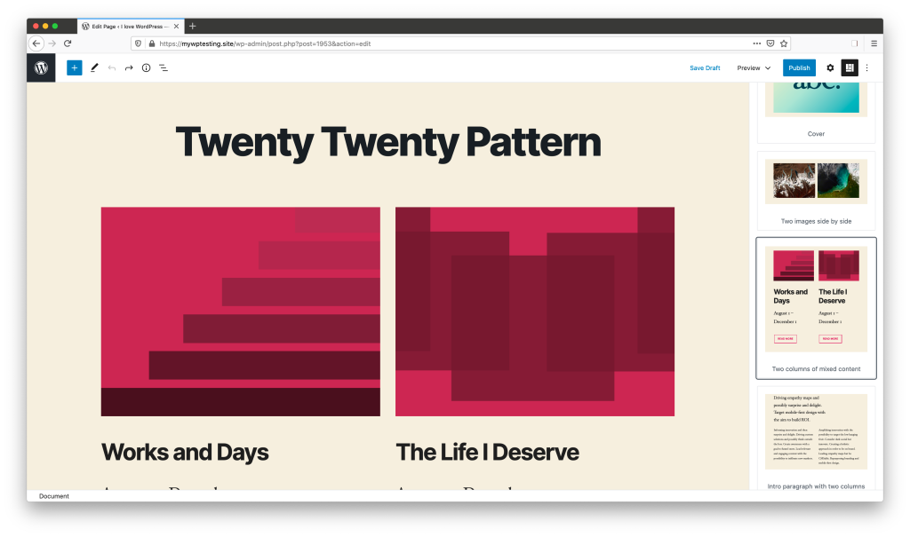 The WordPress editor, with the Block Patterns sidebar open. The newly registered two-column pattern is highlighted within the sidebar.