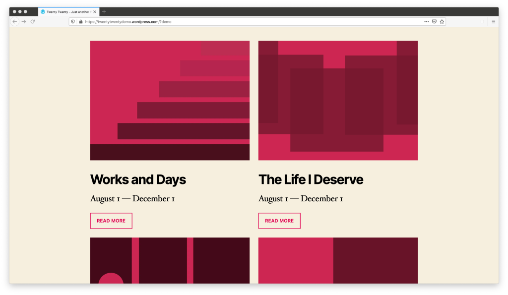"""The Twenty Twenty theme demo, showing a section of the page in which four items are arranged in a 2 column grid. The top two are fully visible, and each column contains an abstract red image, a heading, a large paragraph, and then a button that says """"Read More."""""""